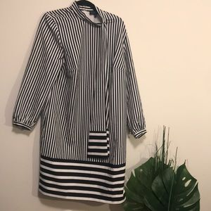 Eloquii size 14 stripped black and white dress bow
